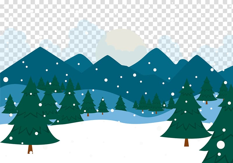 Snow Winter Christmas Landscape, Snowy forest transparent.