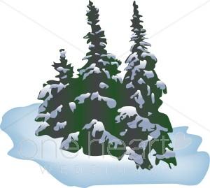 Winter Forest Scene Clipart.
