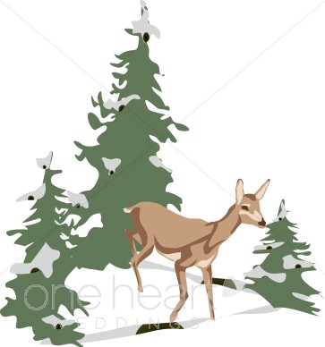 Winter Forest Scene Clipart.