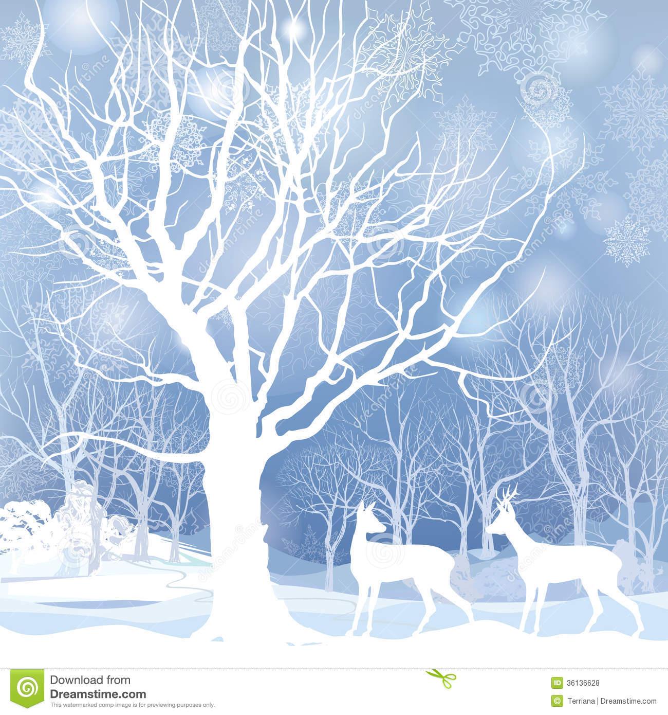 Winter Forest Landscape Illustration Royalty Free Stock Images.