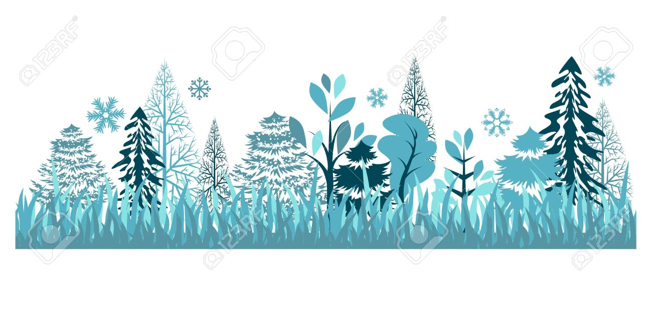 Seamless Pattern With Winter Forest Royalty Free Cliparts, Vectors.