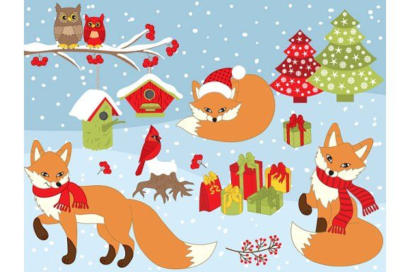Vector Christmas Fox Set Graphics Winter Foxes Clipart.
