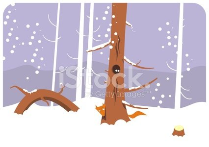 Winter Forest With Fox premium clipart.
