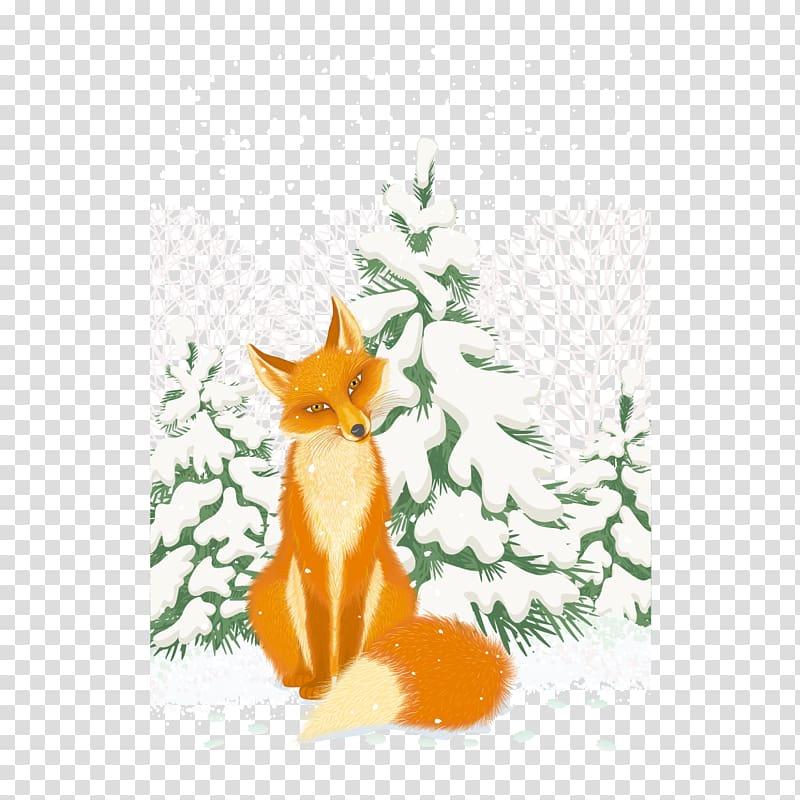 Red fox Arctic fox Illustration, snow little fox transparent.