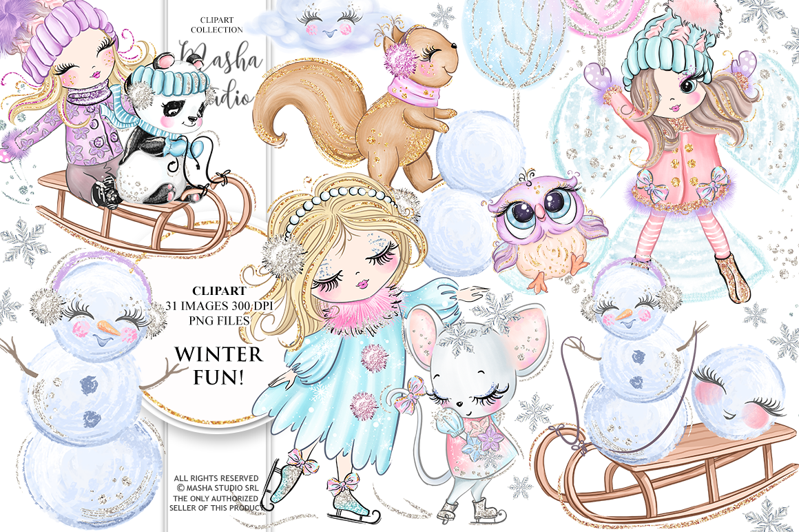 WINTER FUN clipart.
