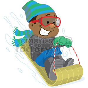 winter fun snow sledding clipart. Royalty.