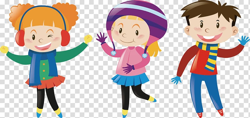 Winter clothing Illustration, Playing children in winter.