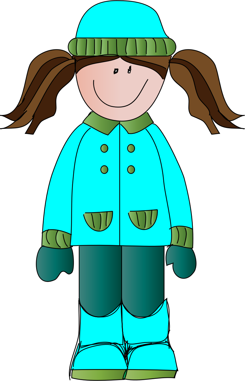 Girl In Winter Clipart.