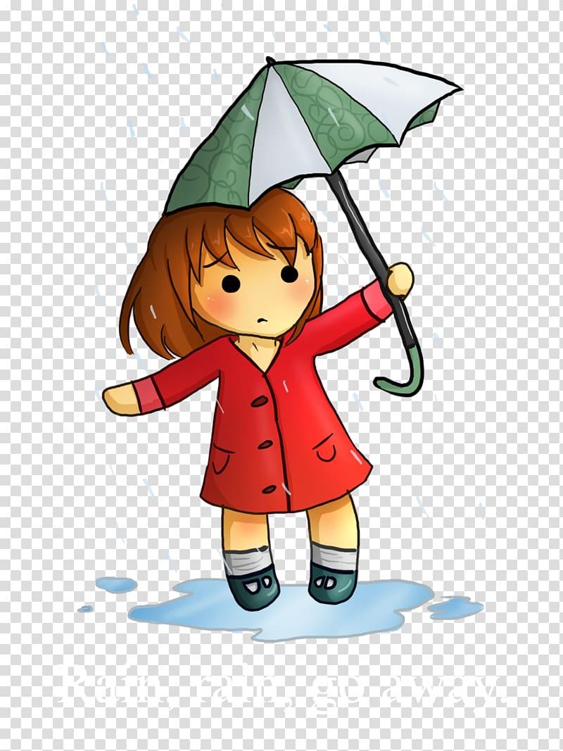 Girl with umbrella and red coat, Rain, Rain, Go Away Drawing.