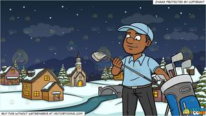 A Black Golfer Inspecting His Golf Club and Winter Night In A Small Town  Background.
