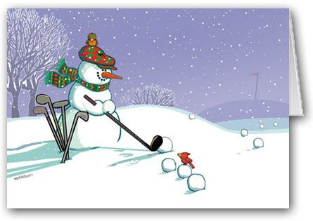 Golfing Snowman Holiday Card #stonehousecards.