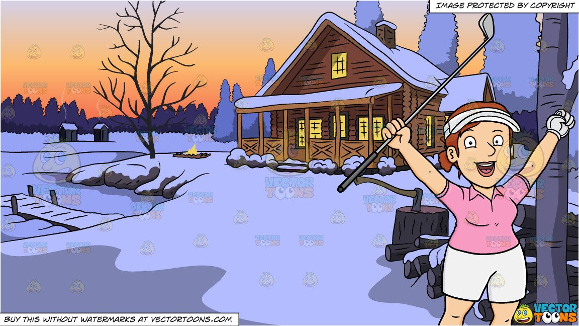 A Female Golfer Rejoices After Putting The Golf Ball Into The Hole and  Winter Lake House Background.