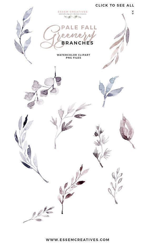 Fall Clipart, Watercolor Leaves Clipart, Frosty Winter.