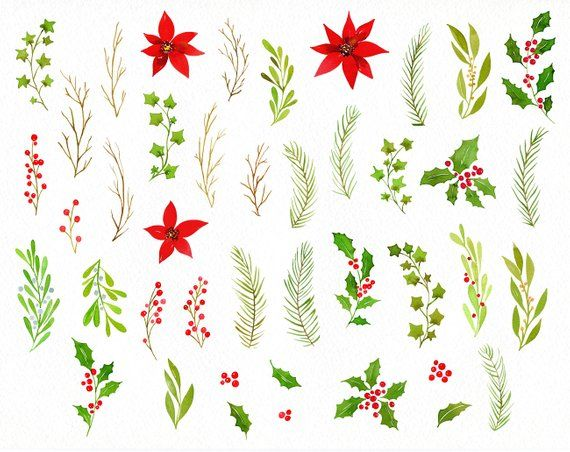 Watercolor Christmas Clipart Green Red Wreath New Year.