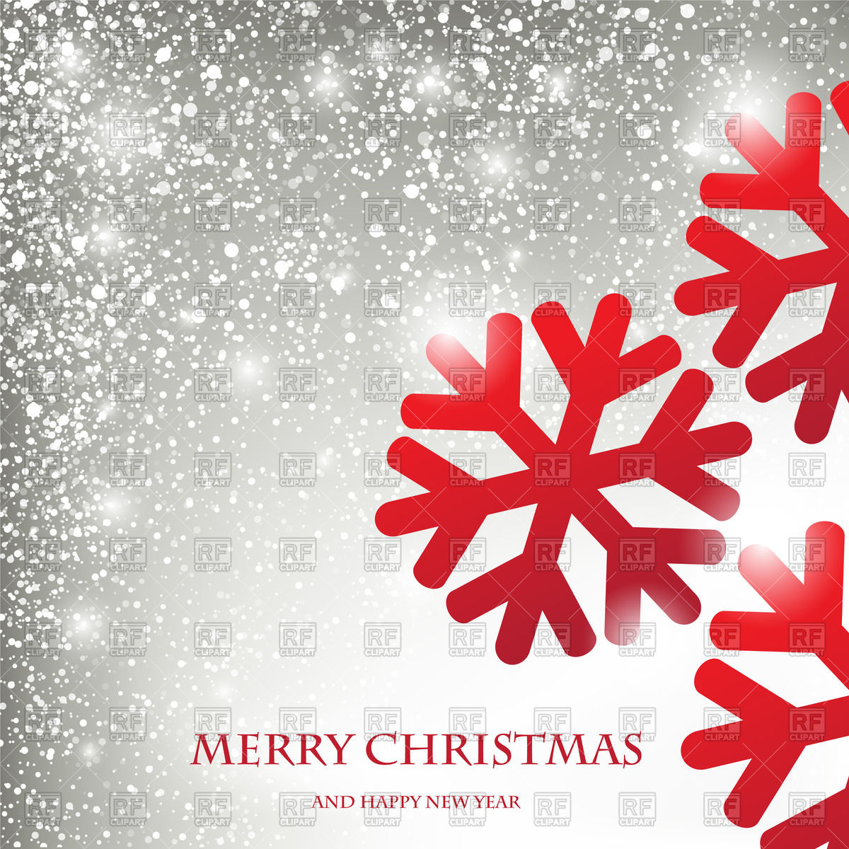 Winter holiday greeting card with snowflakes and snowfall Vector.