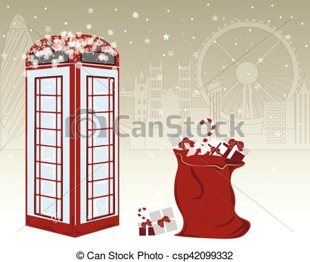 Vectors of Winter greeting card with famous red English telephone.