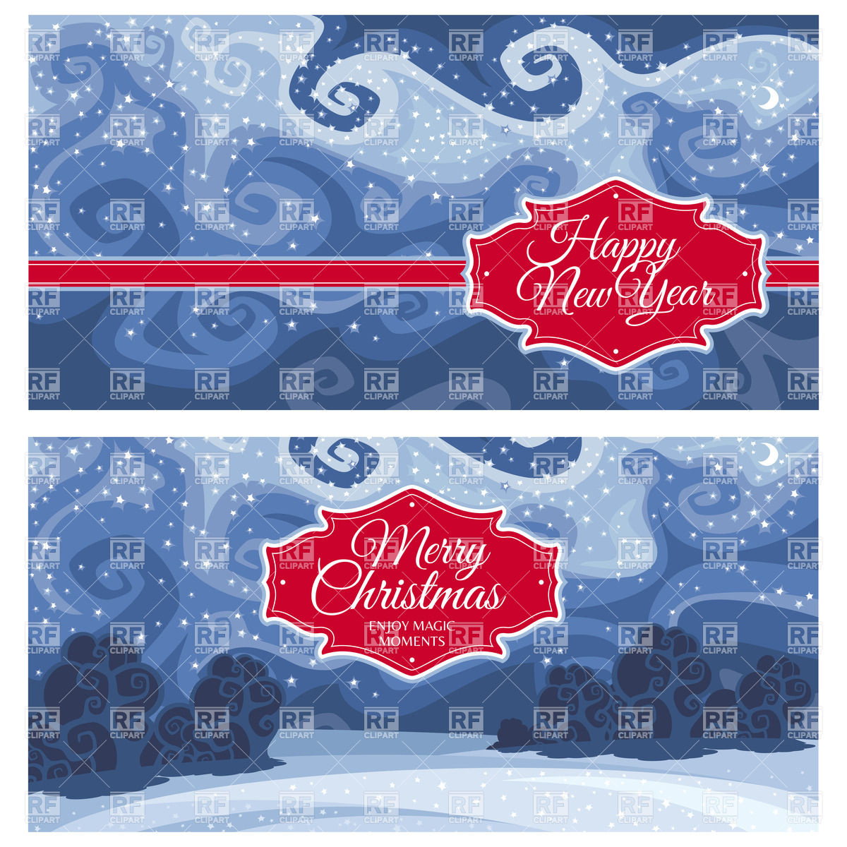 Christmas and New Year greeting cards with night winter landscape.