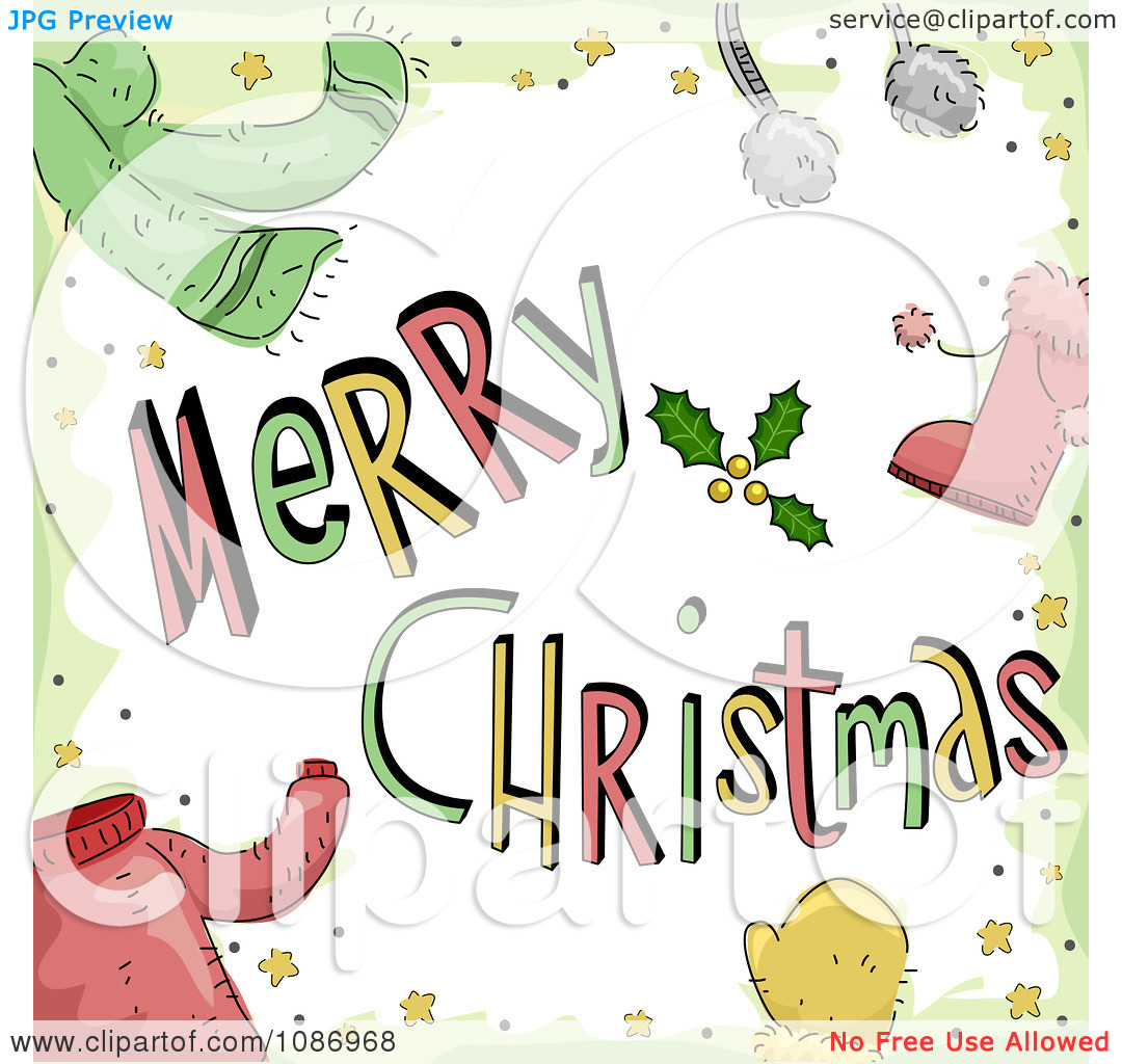 Clipart Merry Christmas Greeting With Winter Accessories And.