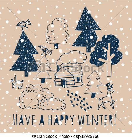 Clip Art Vector of Winter greeting card with sign and snow. Trees.