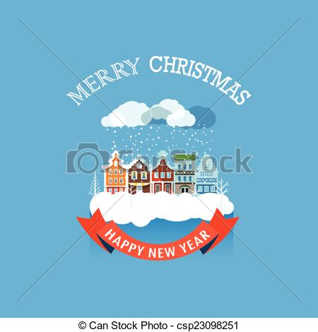Clipart Vector of Vintage buildings with snowfall on Winter.