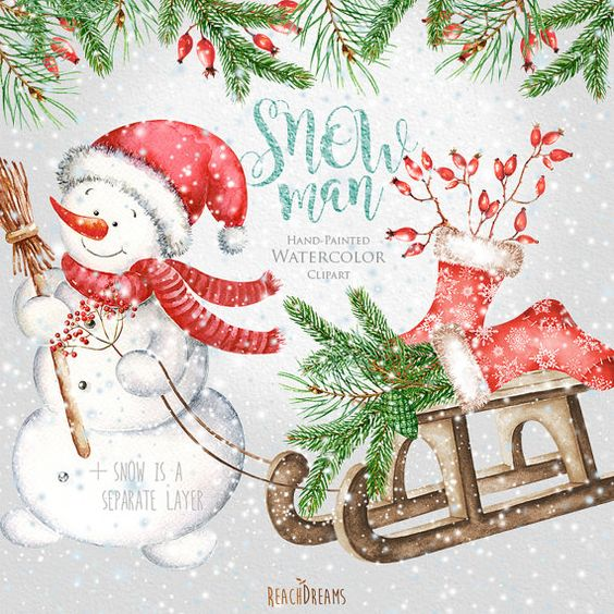 Watercolor Christmas Clipart, Holiday Winter Set, Christmas.