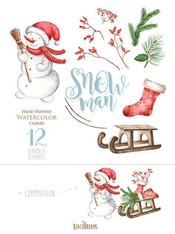Snowman Watercolor Christmas Clipart, Holiday Winter Set.