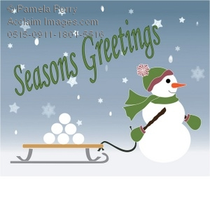 Clip Art Illustration of a Snowman Pulling a Sled With Season's.