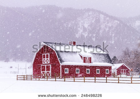 Snow Covered Barn Stock Photos, Royalty.