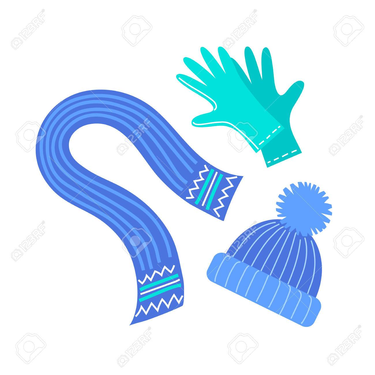 Winter accessories isolated on white background. Scarf, hat and...