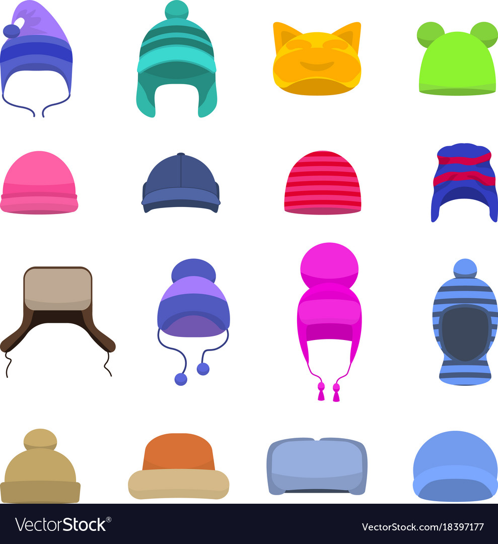 Set cartoon winter hats cap beanie.
