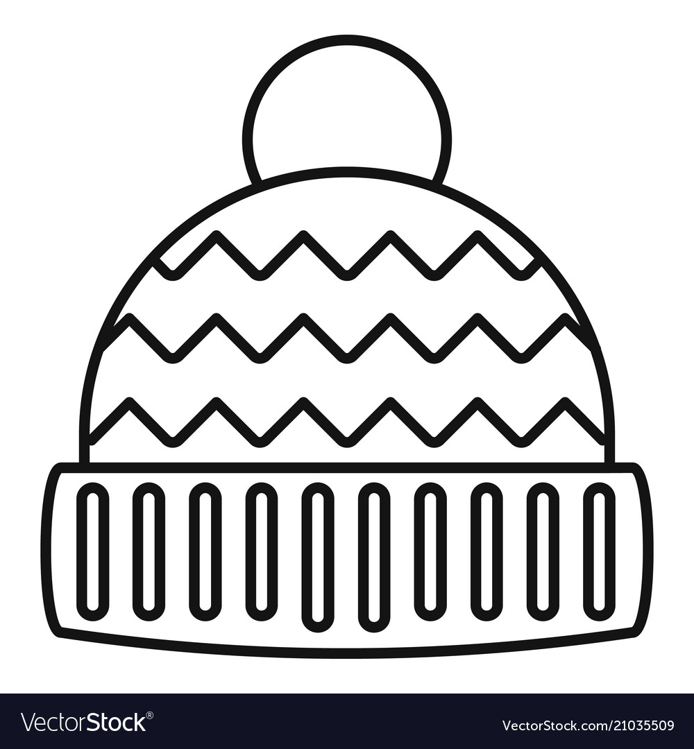 Winter hat icon outline style.
