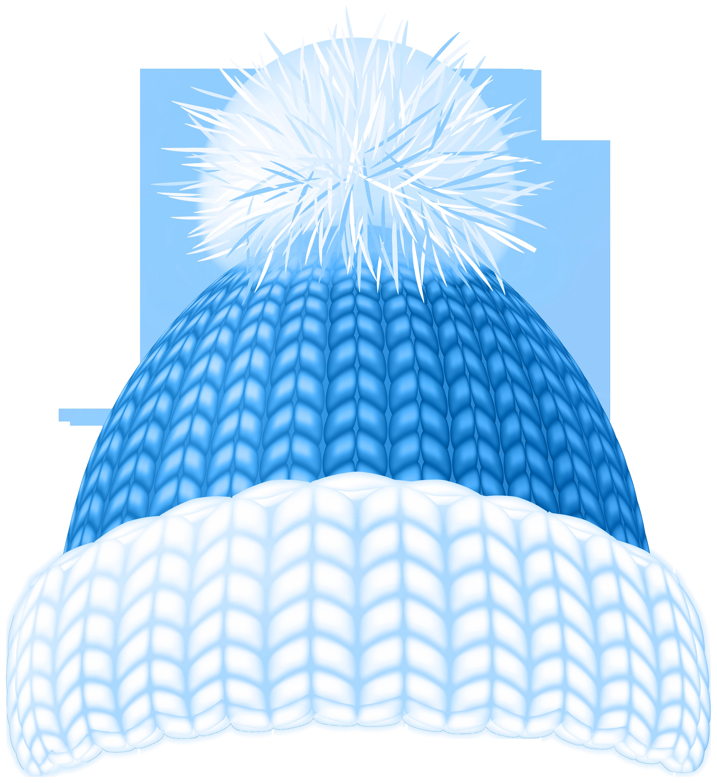 Blue Winter Hat Clip Art Image.