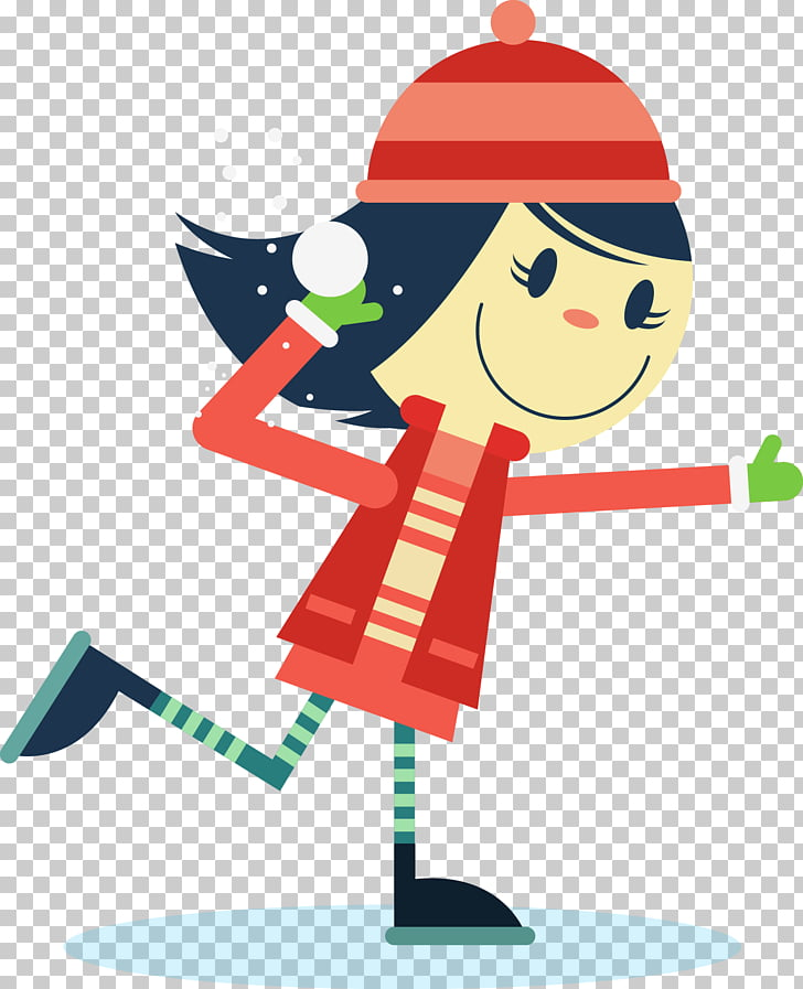 Snowball fight Child Winter, Hat girl PNG clipart.