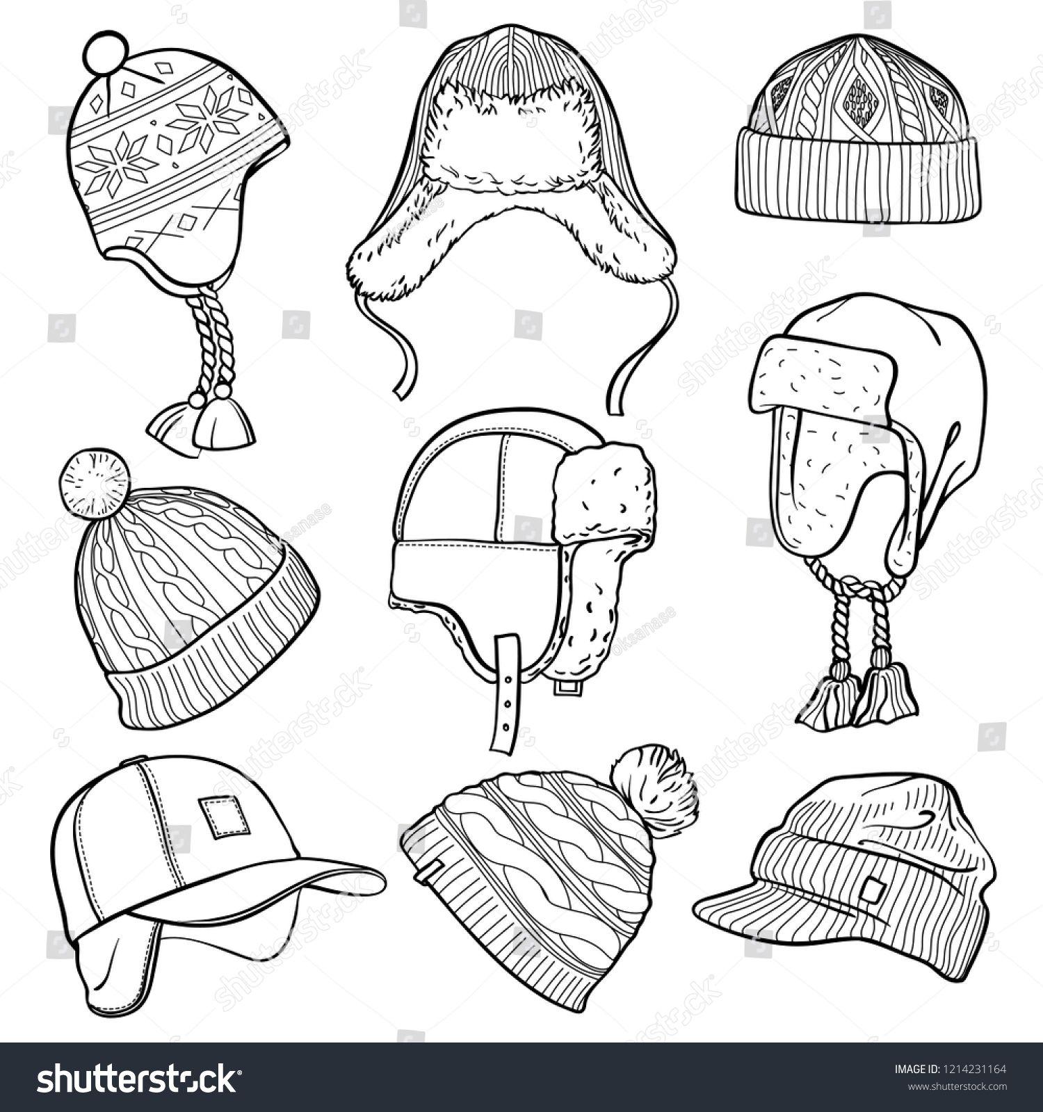 Set of 9 winter caps and hats sketches: baseball cap, ear.