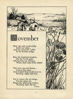 November poem, K Pyle poetry, vintage skating poem, black and.