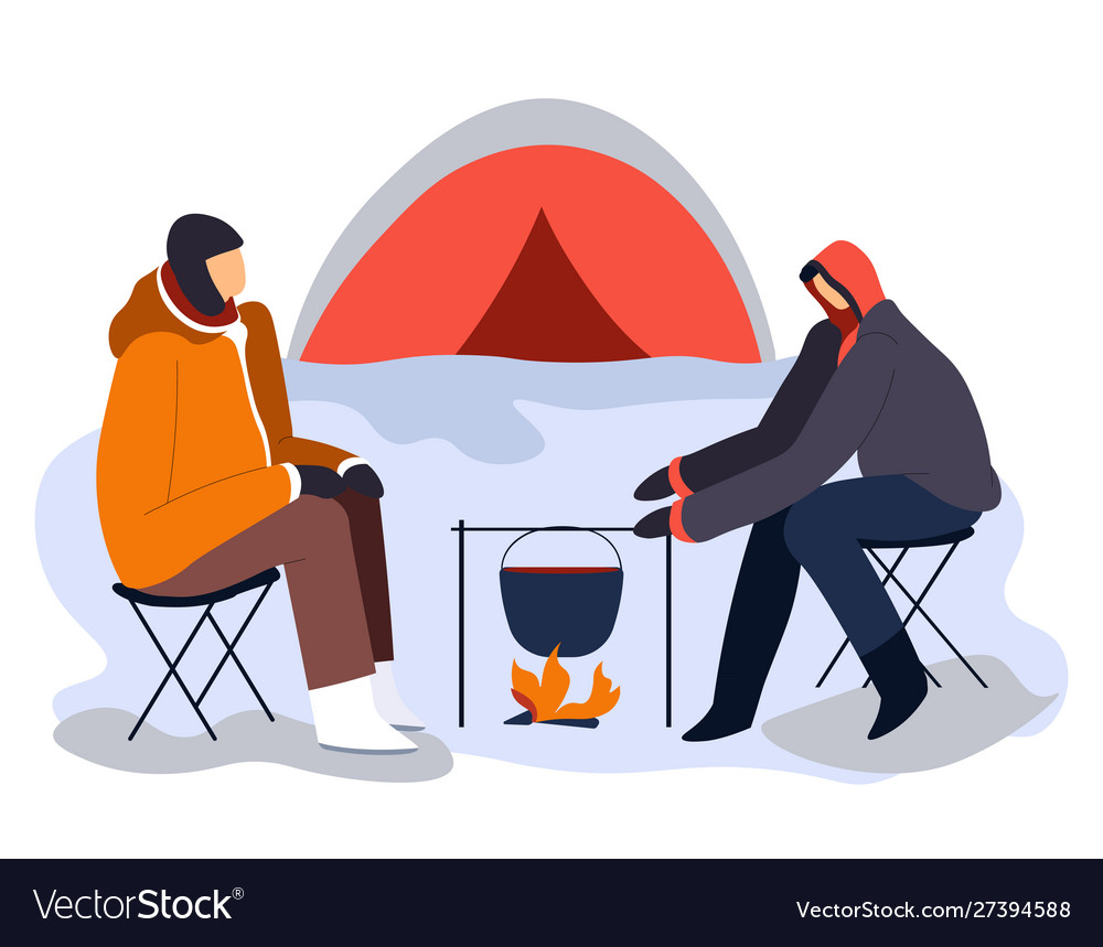 Hikers sitting near tent and campfire with cooking.