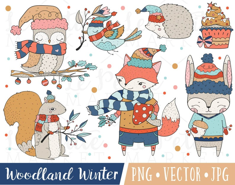 Cute Winter Animals Clipart, Christmas Forest Animals.