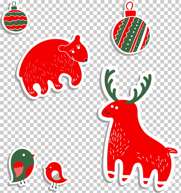 Animal Illustration, Cute winter animals and ball holiday.
