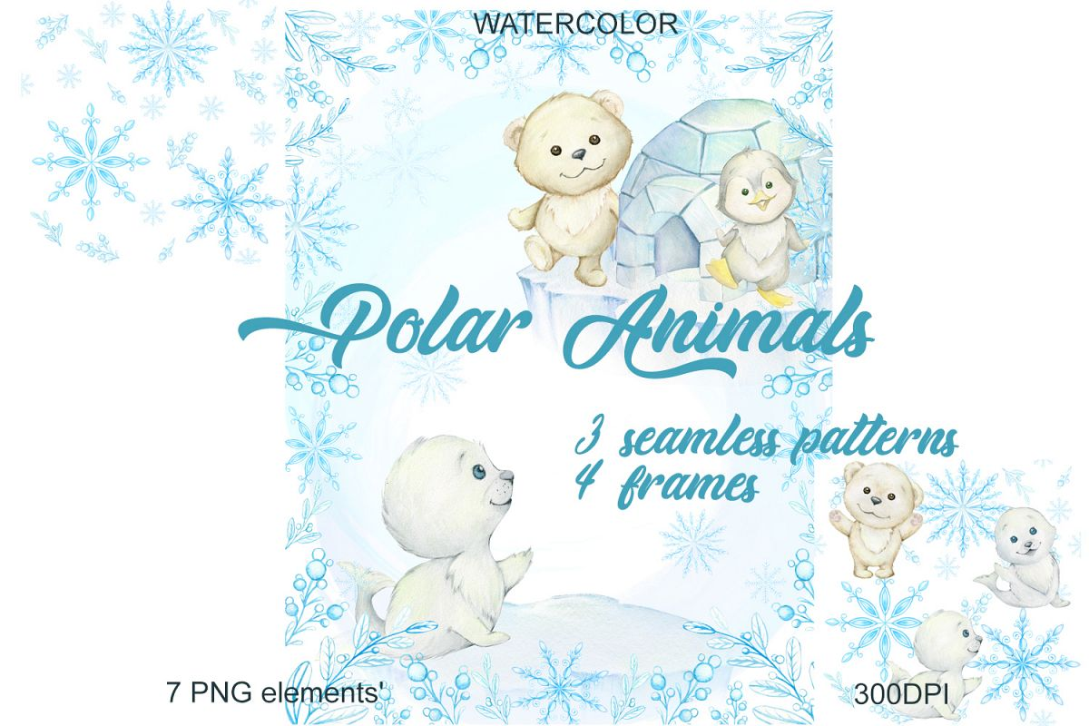Watercolor Christmas Holiday Winter Clipart. Animals.