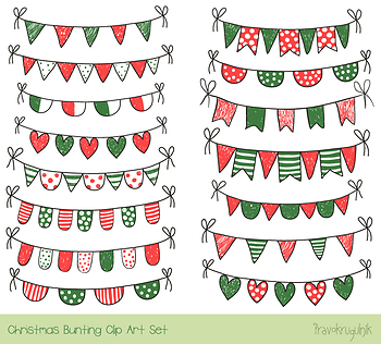 Red green Christmas bunting clipart, Winter doodle banner, Xmas garland  holiday.