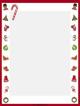 This free, printable, winter holiday border features candy.