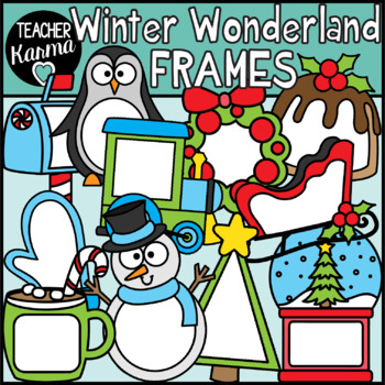 Winter Frames / Christmas Holiday Clipart Borders.