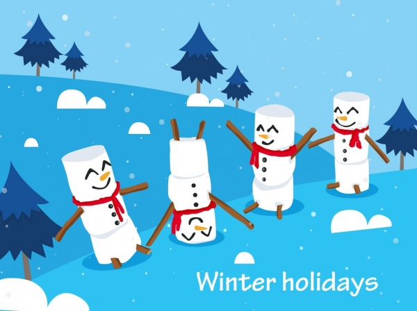 Winter holidays background cute snowman icons decor Free vector in.