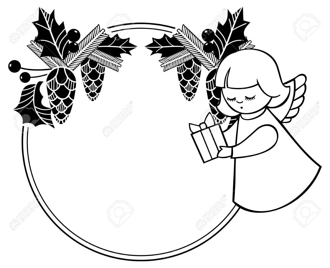 Black and white rouen Christmas frame with cute angels. Copy...