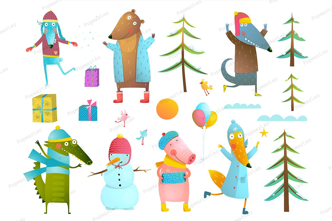 Winter holiday animals clip art.