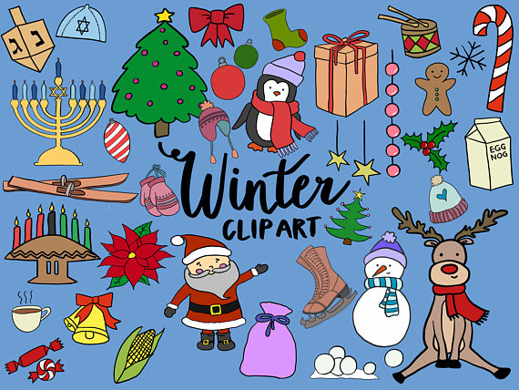 WINTER/HOLIDAY CLIPART, clip art, winter, christmas, kwanzaa.