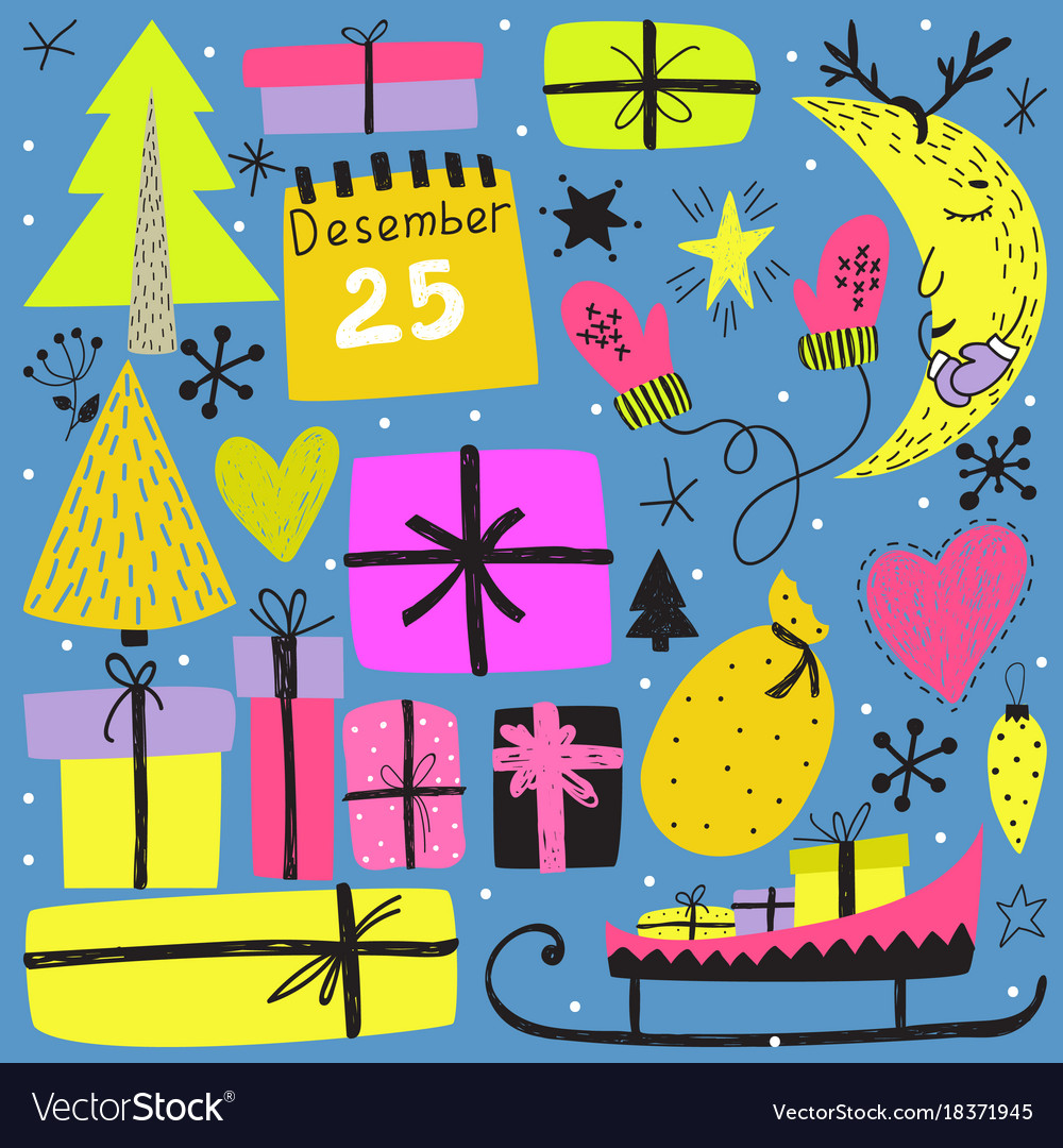 Winter holiday design doodle clipart.