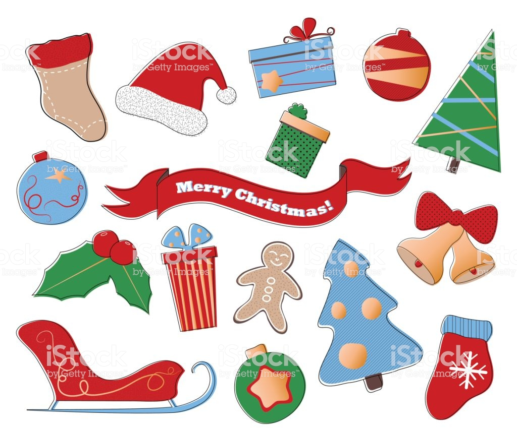 Merry Christmas Vector Clipart Festive Set Of Winter Holiday Icons.