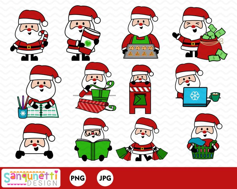 Christmas Santa planner clipart, winter holiday clip art instant download.