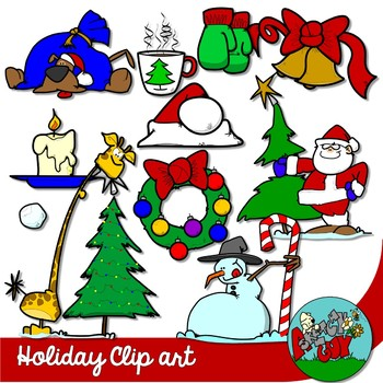 Winter Holiday / Christmas Clipart with Accessories.